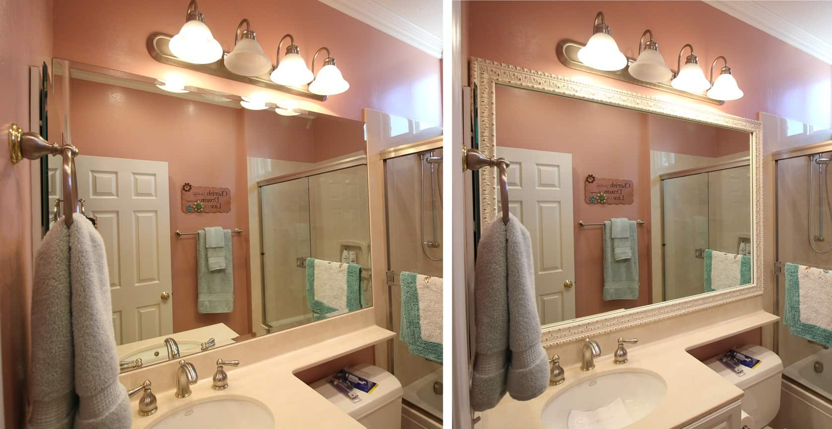 Before and after photo of a MirrorChic mirror frame kit using Milan in White