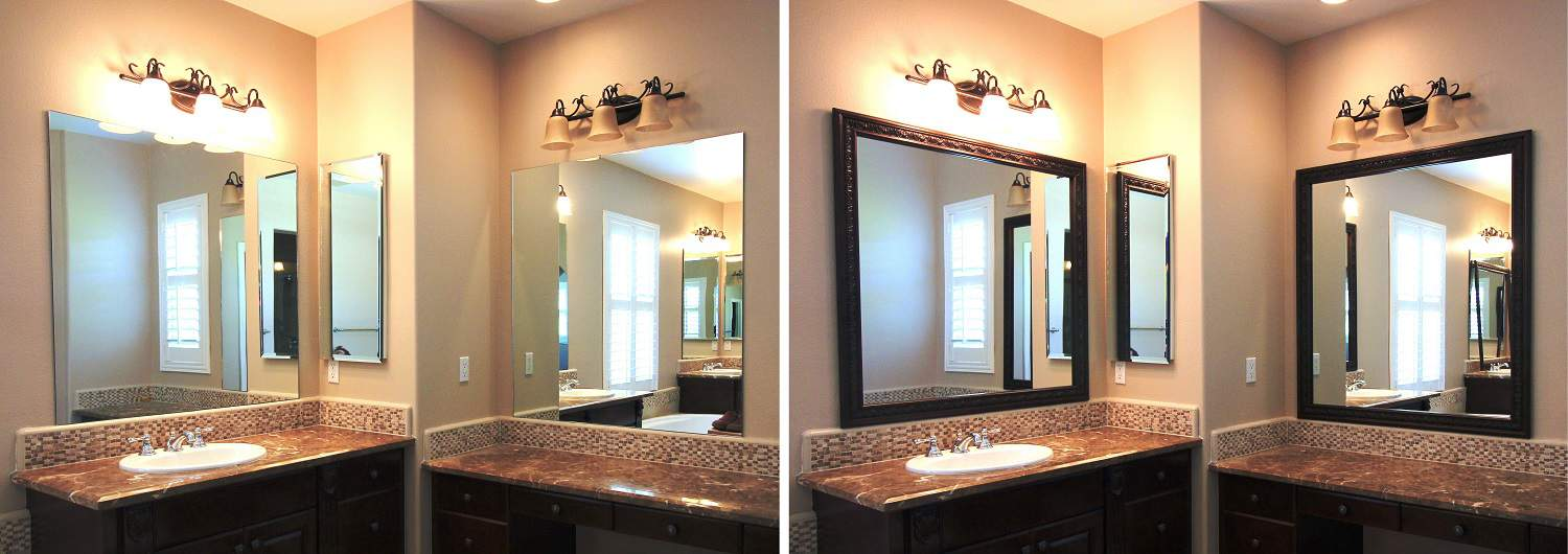 Before and after photo of a MirrorChic mirror frame kit using Le Flore in Bronze Brown.