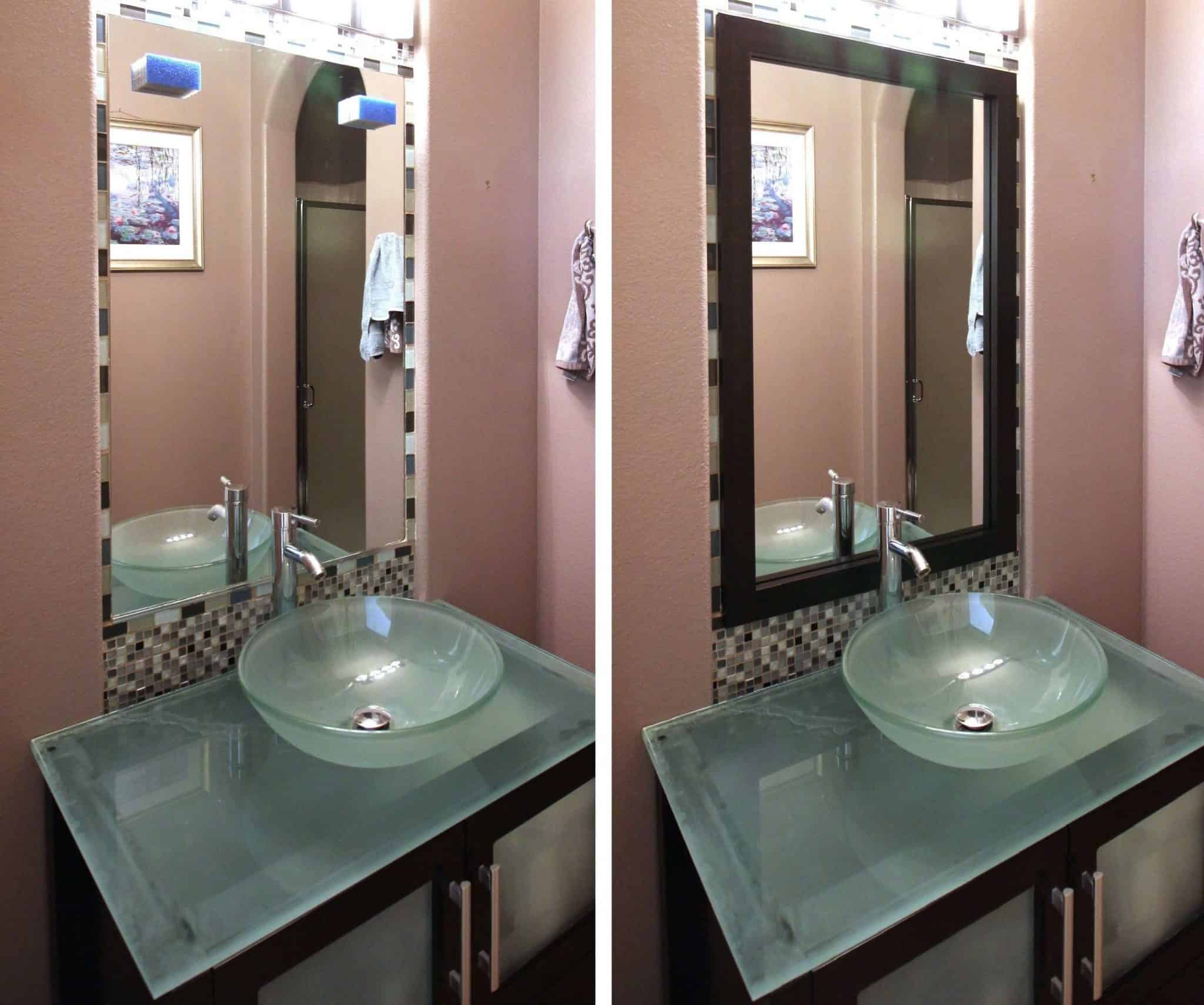 Before and after photo of a MirrorChic mirror frame kit using Caffè Macchiato