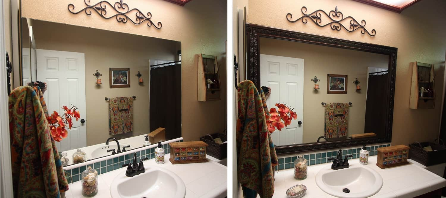 Before and after photo of a MirrorChic mirror frame kit using Milan in Bronze Brown.