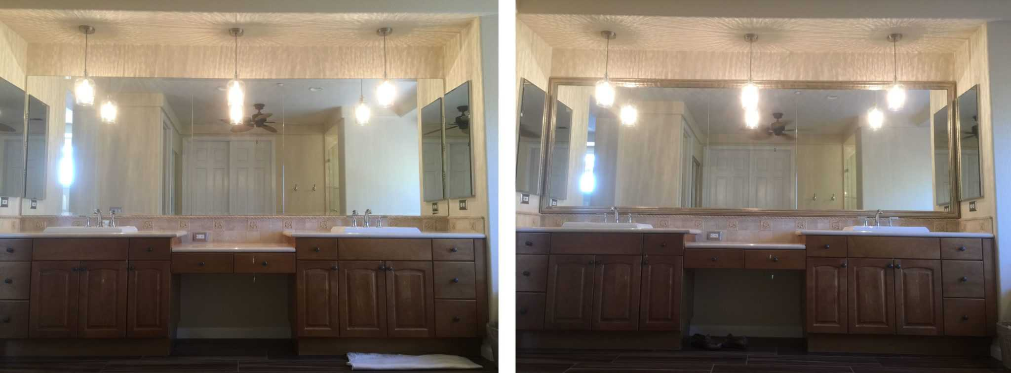 """Before and after photo of a MirrorChic mirror frame kit using Del Mar frame in Weathered Gold. Mirror was 144"""" wide."""